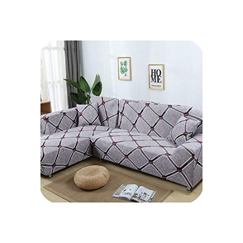 2 Pieces Cover for L Shaped Sofa Sectional Couch Slipcover Elastic Stretch Chaise Lounge Covers Corner Sofa Cover,23,145-190cm 145-190cm