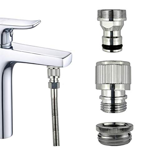 Kitchen/Bathroom Sink Faucet Metal Quick Connector, Quick Connect Shower, GHT3 / 4 inch Adapter Connected to Garden Hose, for Portable Washing Machine/Washing Machine, fFlling Aquarium, Pet Bathing