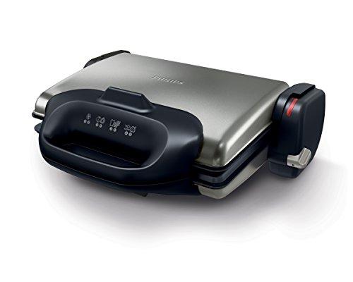 Philips HD4468/90 - Barbacoa y gofrera, 2000 W, color negro y gris