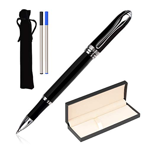 Senkdia Luxury Smooth Rollerball Pens Gift Set with 05mm Medium Point Black and Blue Ink for Signing and Daily Use Executive Pen