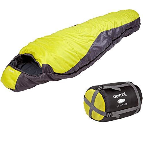 Saco de dormir KeenFlex tipo momia para 3-4 estaciones extra cálido y ligero, compacto, resistente al agua y con control de calor avanzado – ideal para festivales o hacer camping (Amarillo)