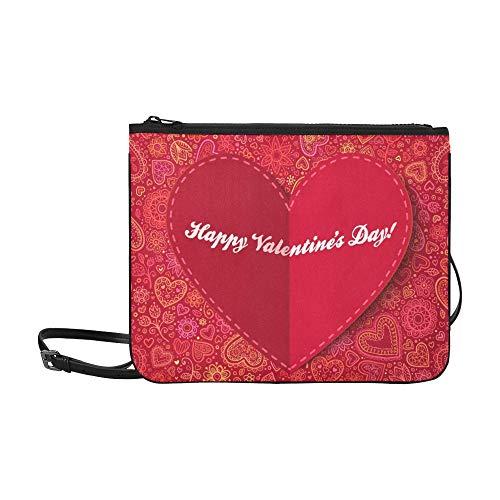 WYYWCY Rote Papierherz-Valentinsgruß-Tageskarte Kundenspezifische hochwertige Nylon-dünne Handtasche Umhängetasche