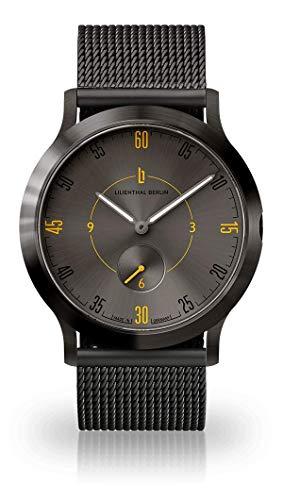 Lilienthal Berlin Unisex Armbanduhr L1 | Prämiertes Design | Qualität Made in Germany mit Lederarmband (klein 37,5mm, L1 Elements Fire/Armband: mesh Dark Gun)