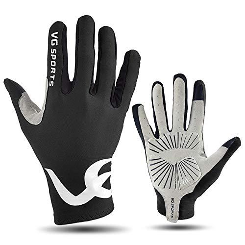 MYSdd Sport-Reithandschuhe Halbfinger- / Vollfinger-Gel-Touchscreen rutschfeste Rennrad-Fahrradhandschuhe für Mountainbikes mit Langen Fingern - Schwarz XL