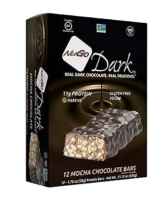 NuGo Dark Chocolate Mocha, 11g Vegan Protein, 200 Calorie, Gluten Free, 12 Count
