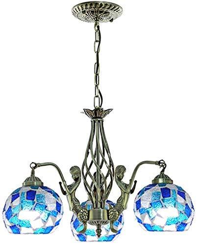 miwaimao Lustre de style méditerranéen, abat-jour rétro en verre teinté, pour salle à manger, salle d'étude, 3 têtes, 55,9 x 35,6 cm