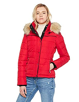 Royal Matrix Women's Hooded Puffer Coat Short Quilted Jacket Full Zip Warm Winter Thickened Coat, Regular & Petite Size(Red, 14)
