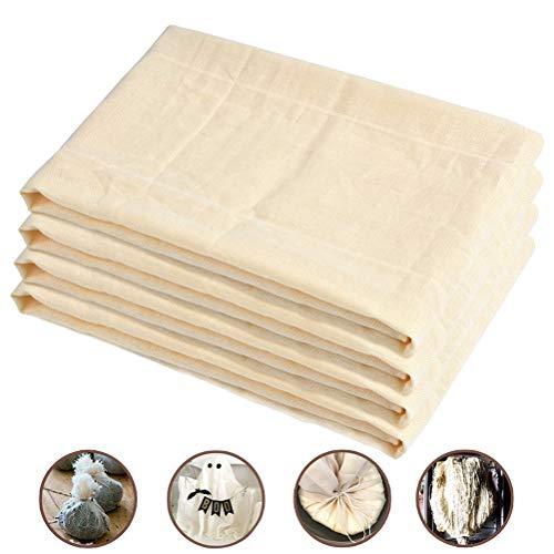 DODUOS 4 Stück Baumwolle Filter Cloth 120 x100 cm Käsetuch Wiederverwendbar Passiertücher Nussmilchbeutel Seihtuch für Butter, Almond Milk, Ghee, Tofu, Obstsaft, joghurt