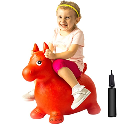 NDN LINE Bouncy Animal, Horse Inflatable with Pump, Red