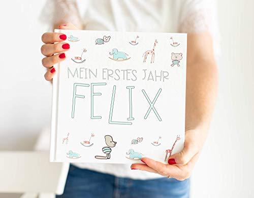 Babybuch zum eintragen mit Namen des Kindes - Babytagebuch für Mädchen und für Junge - das erste Jahr - Erinnerungsalbum - Eintragsalbum - personalisiert, mit Namen des Babys