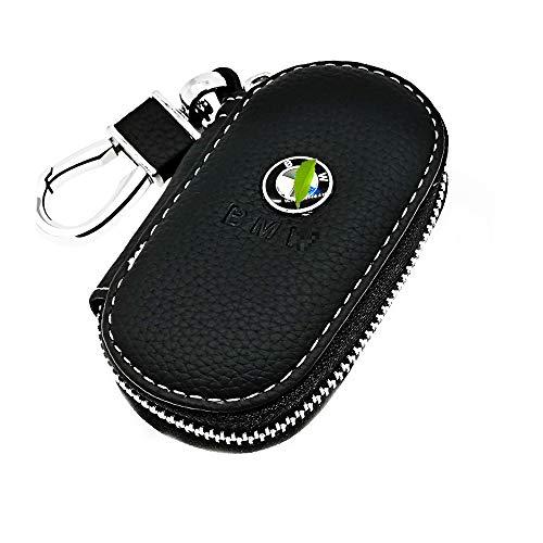 VILLSION Véritable Cuir Voiture clé Cas Porte-clés Etuis avec Crochet Acier Inoxydable Fermeture à glissière métal, Noir