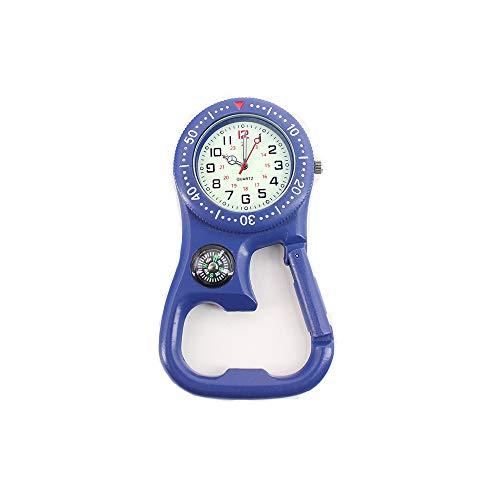 Weicam Men Women Compass Corkscrew Carabiner Clip on FOB Watch Outdoor Adventure Luminous Pocket Watch (Blue)