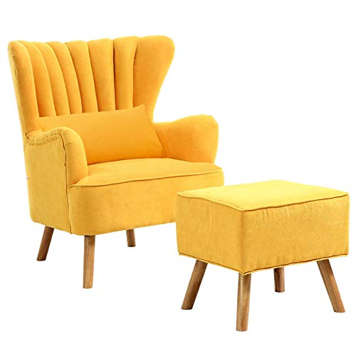 Warmiehomy Modern Fabric Armchair Wing Back Occasional Chair Sofa Lounge Tub Chair Fireside Chair with Footstool Living Room Bedroom Office Furniture (Yellow)