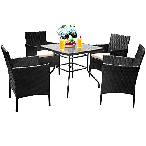 Devoko 5 Pieces Patio Dining Set Patio Furniture Set Outdoor Furniture Set, Square Glass Table Top with Umbrella Hole (Beige)