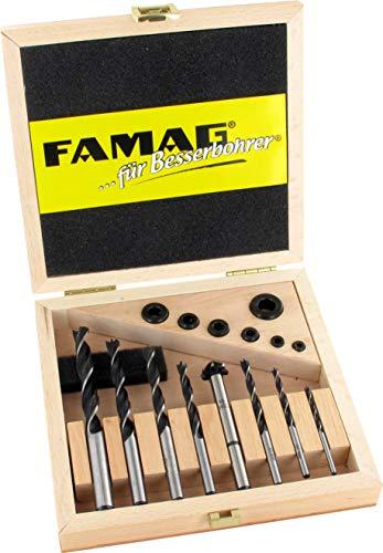 FAMAG 3500 Holzspiralbohrer CV 15-tlg. Satz im Holzaksten Ø3-10mm mit Tiefenstellring & Versenker - 3500.515