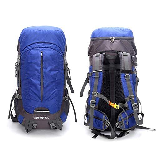 Zjcpow Campeggio Zaino 40+10L Escursionismo Zaino Esterno Impermeabile Per Gli Uomini Donne, Blu reale, Taglia unica