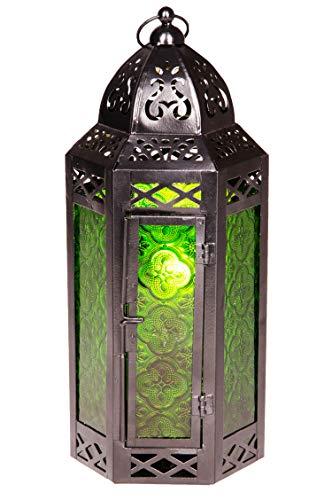 Orientalische Laterne aus Metall & Glas Liyana 30cm | orientalisches Windlicht | Marokkanische Glaslaterne für innen | Marokkanisches Gartenwindlicht für draußen als Gartenlaterne (Grün)