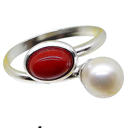 Corales de Cerdeña, anillo coral rojo, 5 x 7 mm, perla de 7 mm, plata ajustable