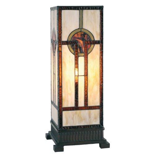 Lumilamp 5LL-5446 - Lampada da tavolo Art Deco Tiffany, multicolore, 18 x 45 cm, 1 x E27, max 60 W, realizzata a mano, con paralume in vetro