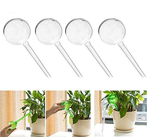 Fashionclubs Aqua Globes Small Plant Automatic Self Watering PVC Bulbs Ball,Pack of 4 (Clear 2 Dia)