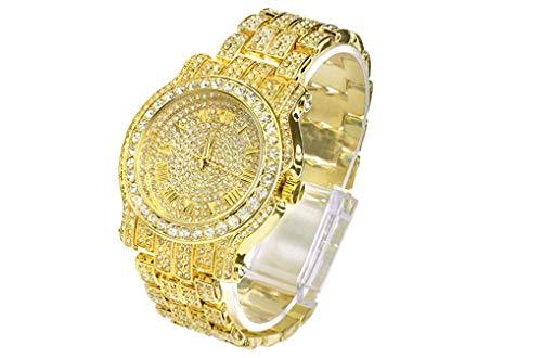 Iced Out CZ - Reloj con diamantes Hip Hop - Joyería de color dorado y plateado. Bust Down AP Watch. Mille Rollie - Reloj para hombre