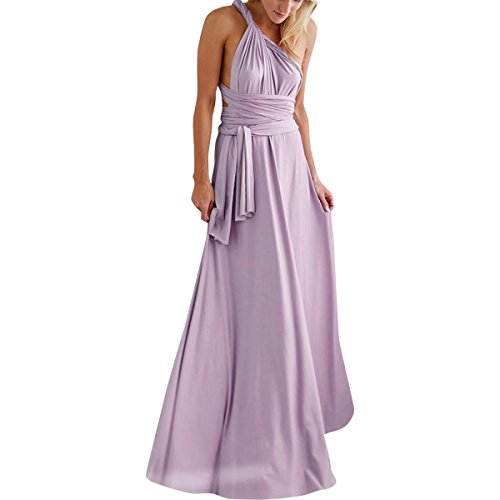 Women's Transformer Infinity Long Evening Maxi Dress Deep V-Neck Multi-Way Wrap Convertible Halter Wedding Bridesmaid Formal Party Floor Length Gown Cocktail Dress High Elasticity Light Purple