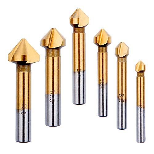 Svasatore per Metallo Legno, HTBAKOI Punta Trapano per Svasatore Titanio Rivestito in HSS 90°Gradi 6,3mm 8,3mm 10,4mm 12,4mm 16,5mm 20,5mm Punte con Svasatori Svasatura