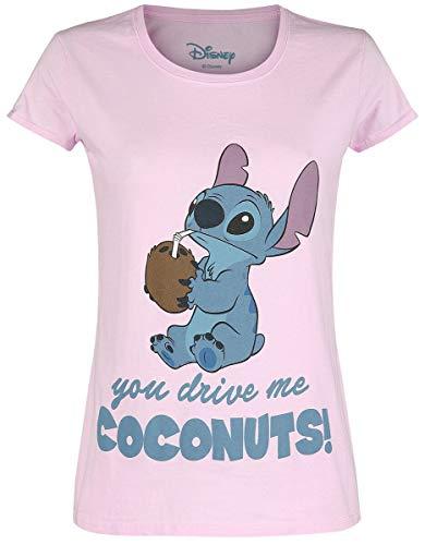 Lilo & Stitch Drive Me Coconuts Mujer Camiseta Rosa L, 100% algodón, Regular