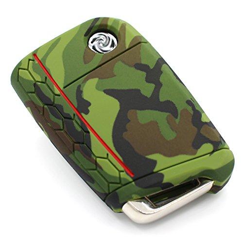Coque en Silicone 3 Boutons Clé de Voiture Coque VB de Meilleurs Folia .Camouflage