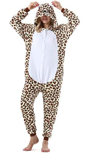 Pijama Animal Entero Unisex para Adultos con Capucha Mujer Hombre Cosplay Pyjamas Ropa de Dormir Traje de Disfraz para Festival de Carnaval Halloween Navidad Leopardo Oso para Altura 148-187cm