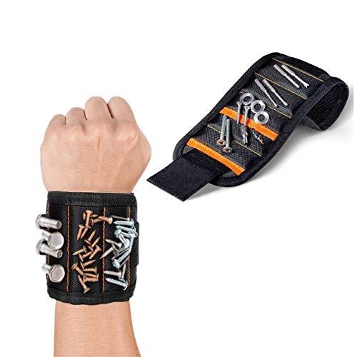 JZK Magnetisches Armband mit 15 Magneten zum Halten Schrauben Nägel Nüsse Schrauben Bohren Bits, magnetarmband werkzeug Geschenk für Papa Mann Zimmermann Klempner