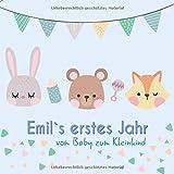 Emil`s erstes Jahr - vom Baby zum Kleinkind: Babyalbum für Jungen zum Ausfüllen für das erste Lebensjahr
