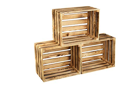 GrandBox Caisse en Bois flammé Flame-Box, Lot de 3, Caisse à vin, Caisse à Fruits, Caisse de décoration, Rangement Vintage Shabby Chic, Caisse à Bois de Chauffage