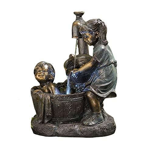 surfsexy Estatua de jardín al aire libre, niña y niño resina estatua jardín escultura patio decoración interior