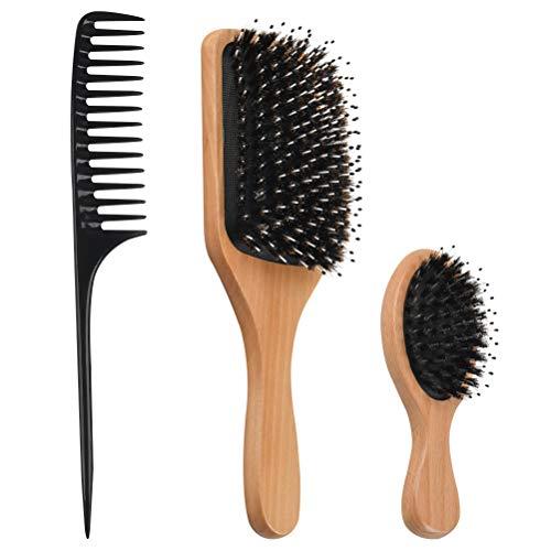 Juego de cepillo de cerdas de jabalí y peine para niñas, cepillo de cerdas de jabalí natural para cabello grueso, rizado, largo, corto, mojado o seco para hombres, mujeres y niños