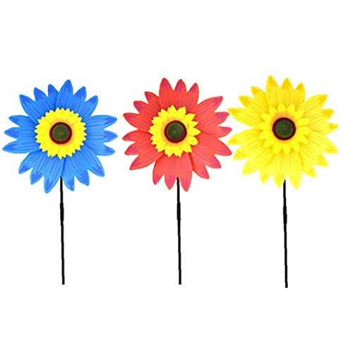 Sunflower Windmill Colorful Lawn Wind Spinner Garden Stakes Ornaments Children Outdoor Toys Gifts 3PCS Random Color