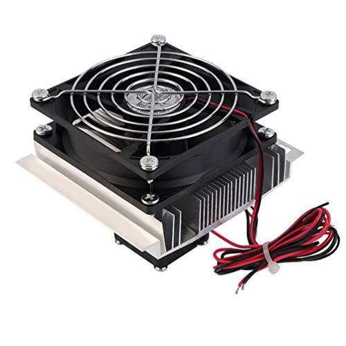 Enfriador termoeléctrico Peltier de 60 W, refrigeración, semiconductores, Sistema de enfriamiento, Kit de Ventilador, Enfriador, Juego Terminado, componentes de computadora (Plateado y Negro)