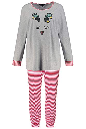 Ulla Popken Damen Pyjama mit Rentier Pyjamaset, hellrot, 54-56