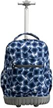 SKYMOVE 18 inches Wheeled Rolling Backpack Multi-Compartment College Books Laptop Bag, Blue Geometry