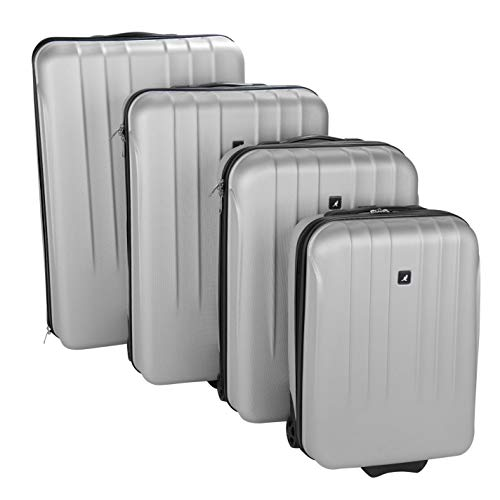 Kangol Unisex Hard Suitcase Set Shell Silver 4pc Set