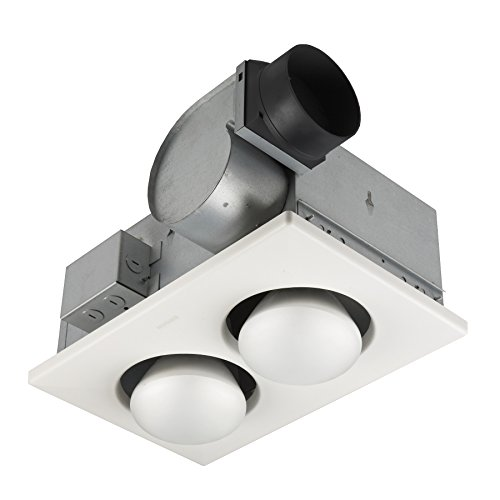 Broan-NuTone 164 Type IC Infrared Two-Bulb Ceiling Heater with Fan, 250 Watt, White