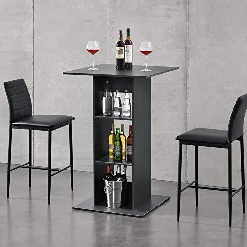 [en.casa] Bartisch Quadratisch 110x70x70cm Bistrotisch mit 3 Regalfächern Stehtisch Bartheke Tresentisch Dunkelgrau