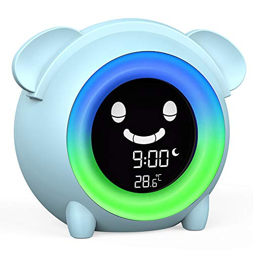 Alarm Clock for Kids , Children Sleep Trainer with 5 Color Changing Night Light , Wake up Light ,Sleep Sound Machine ,Nap Timer ,Bedside Kids Clock for Toddlers ,Teach Girls Boys Time to Wake Up
