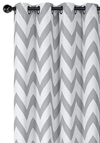 Regal Home Collections 2 Pack Designer Chic Chevron Room Darkening Energy Saving Thermal Grommet Top Curtain Panels with Bonus Tiebacks (Gray, 84 Inches)