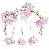 Qinghengyong Las Mujeres Flores Boda Horquilla Palo Nupcial Floral de la Horquilla en Forma de U Clip de Pelo de la Manera Headwear Accesorios Set