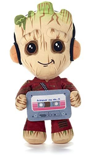 Marvel, Baby Groot Peluche, Guardianes de la Galaxia, clásico, maceta, con mono rojo y cinta de casete, 30 CM (12