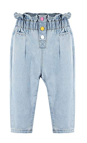 Kidscool Space Baby /& Little Girls Ruffled Elastic Waist Colorful Button Decor Vertical Pocket Jeans