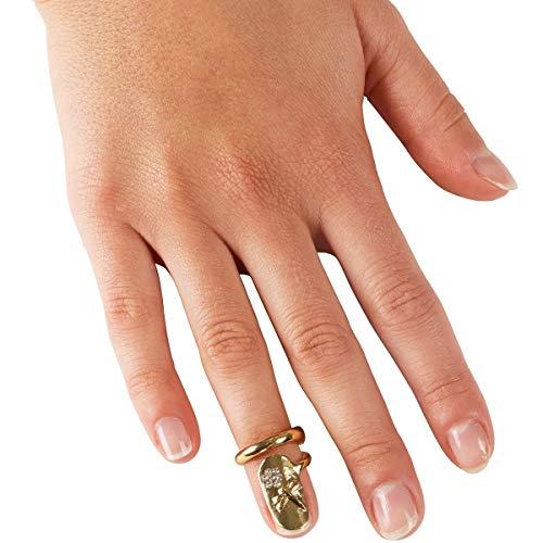 Schmuckring 2 in 1, Fingerring mit Kunstnagel, Fingerspitzen-Nagel-Ring mit Steinchen, Finger Schmuck Damen, Ø 1,5 cm