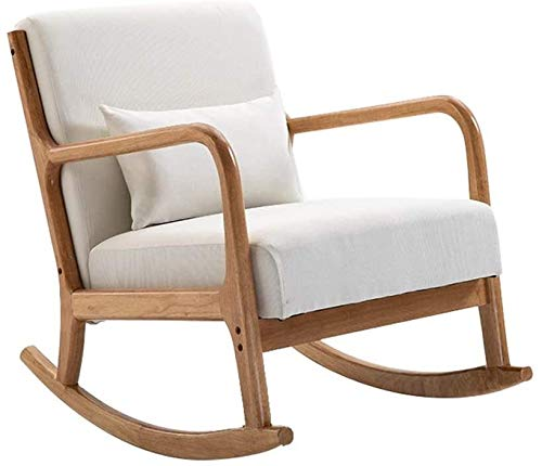 HLZY Home Furniture Porch Chairs Porch Furniture, Rocking Chair with Armrests and Backrest Cotton Linen Cushion Solid Wood Frame Relaxing Recliner Chair for Living Room Bedroom Garden Relax Furniture