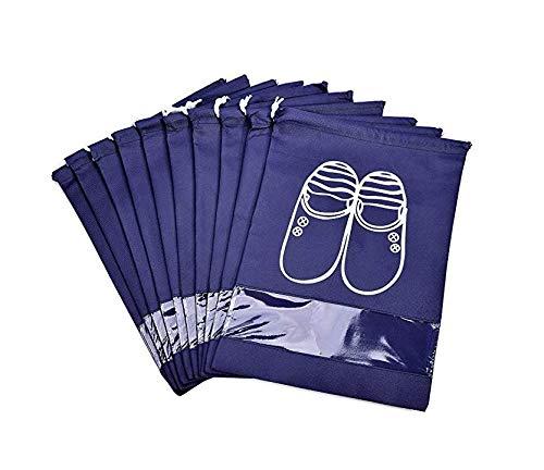Axgo SBNY10 - Bolsas organizadoras para Zapatos con Ventana (Nailon, 10 Unidades, para Botas, tacón Alto, cordón, Ahorro de Espacio), Color Azul Marin